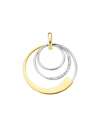 PENDENTIF OR BLANC/JAUNE & DIAMANTS