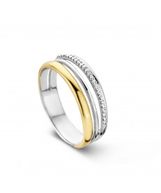 BAGUE OR JAUNE/BLANC & DIAMANTS