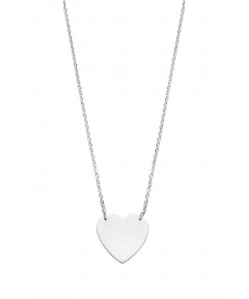 COLLIER COEUR OR BLANC