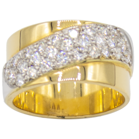 BAGUE OR JAUNE-BLANC & DIAMANTS