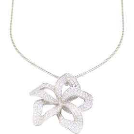 PENDENTIF OR BLANC & DIAMANTS
