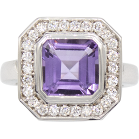 BAGUE OR BLANC & AMETHYSTE
