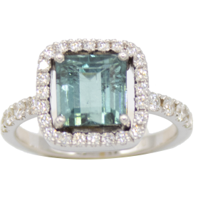 BAGUE OR BLANC & TOURMALINE