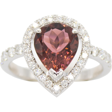 BAGUE OR BLANC & TOURMALINE ROSE