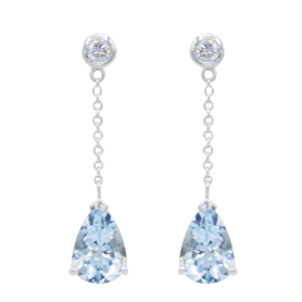 BOUCLES D'OREILLES OR BLANC & AIGUE-MARINE