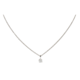 COLLIER OR BLANC 18KT & DIAMANT
