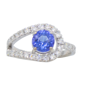 BAGUE OR BLANC DIAMANTS & TANZANITE