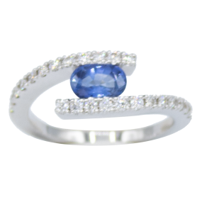 BAGUE OR BLANC DIAMANTS & SAPHIR