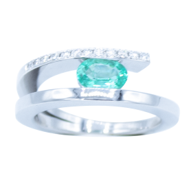 BAGUE OR BLANC DIAMANTS & EMERAUDE