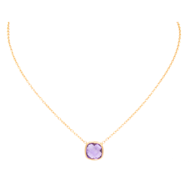 COLLIER OR ROSE & AMETHYSTE