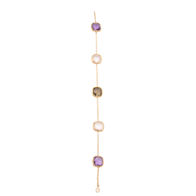 BRACELET OR ROSE AMETHYSTES & QUARTZ