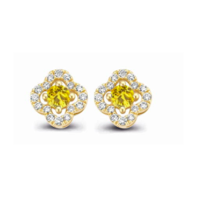 BOUCLES OR JAUNE SAPHIRS JAUNES & DIAMANTS ONE MORE