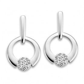 BOUCLES D'OREILLES OR BLANC & DIAMANTS