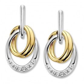 BOUCLES D'OREILLES OR JAUNE/BLANC & DIAMANTS