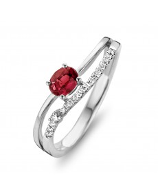 BAGUE OR BLANC RUBIS & DIAMANTS