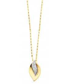 COLLIER OR JAUNE/BLANC & DIAMANTS